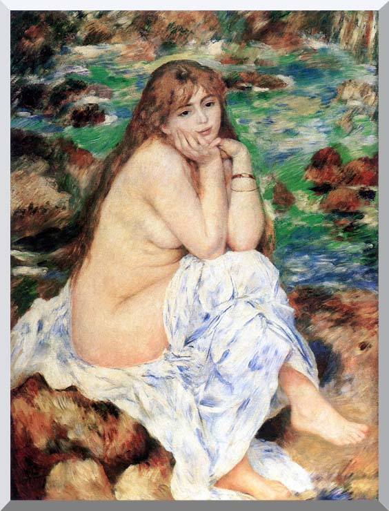 Pierre Auguste Renoir Seated Bather stretched canvas art print