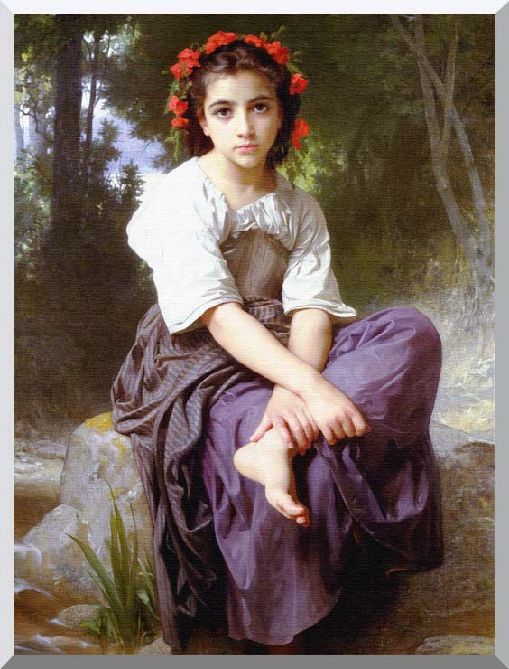 William Bouguereau At the Edge of the Brook stretched canvas art print