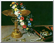 Jan Brueghel The Elder Gold Cup With Flower Wreath And Jewel Box Detail stretched canvas art