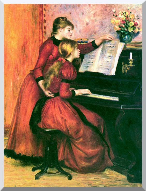Pierre Auguste Renoir The Piano Lesson stretched canvas art print