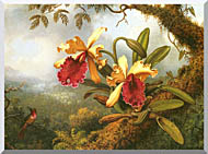 Martin Johnson Heade Orchids And Hummingbird stretched canvas art