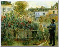 Pierre Auguste Renoir Claude Monet Painting In His Garden At Argenteuil stretched canvas art