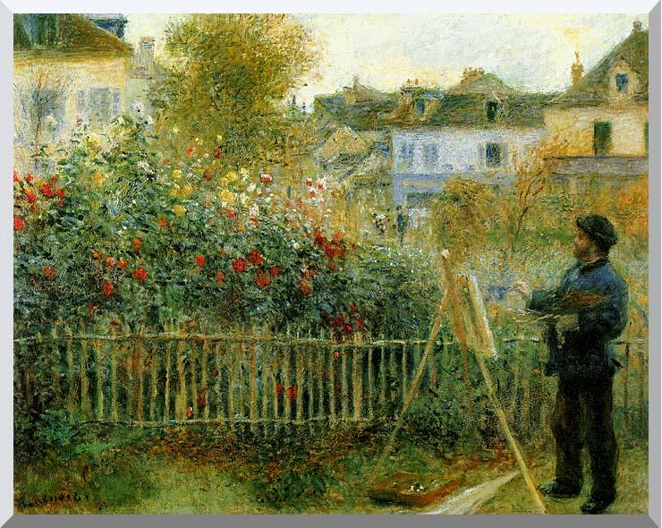 Pierre Auguste Renoir Claude Monet Painting in his Garden at Argenteuil stretched canvas art print