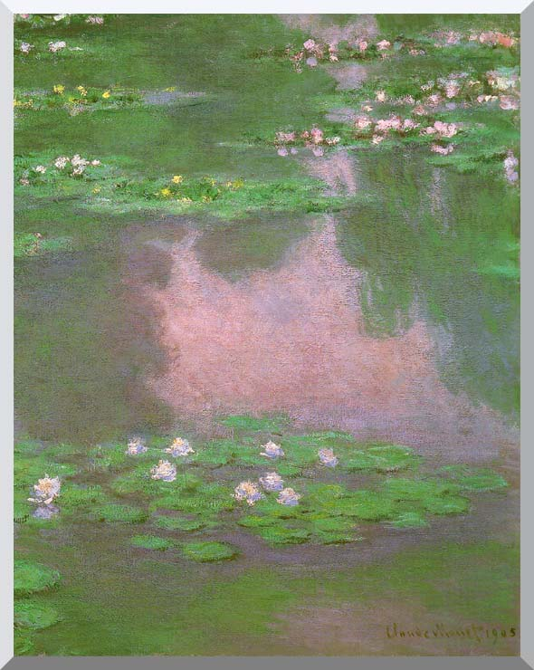 Claude Monet Water-Lilies 1905 (portrait detail) stretched canvas art print