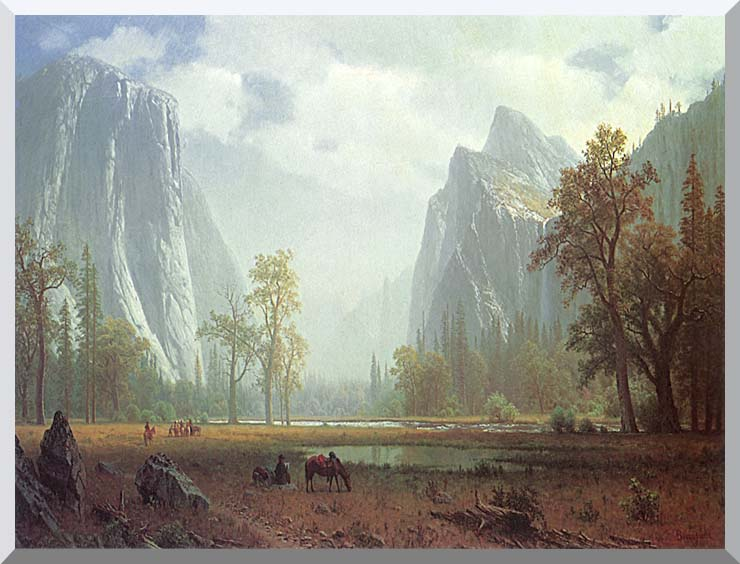 Albert Bierstadt Looking up the Yosemite Valley (detail) stretched canvas art print