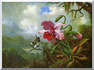 Martin Johnson Heade Orchid And Hummingbirds Near A Mountain Lake stretched canvas art