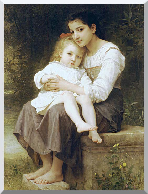 William Bouguereau Big Sister stretched canvas art print