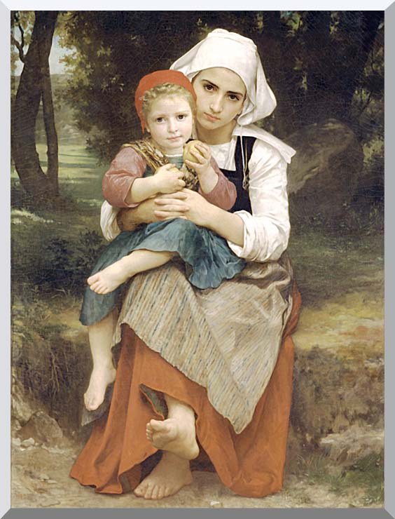 William Bouguereau Breton Brother and Sister stretched canvas art print