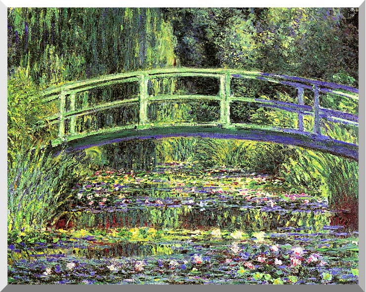 Claude Monet Water Lilies and Japanese Bridge stretched canvas art print