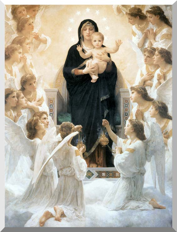 William Bouguereau The Virgin with Angels stretched canvas art print