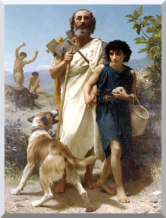 William Bouguereau Homer and His Guide stretched canvas art print