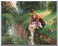 Camille Pissarro Woman Bathing Her Feet stretched canvas art