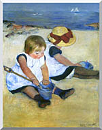 Mary Cassatt Children Playing On The Beach Detail stretched canvas art