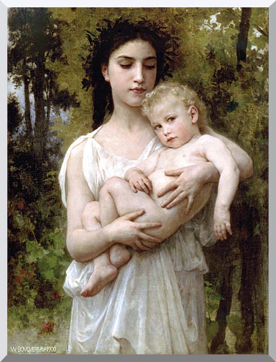 William Bouguereau Little Brother stretched canvas art print