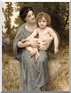 William Bouguereau Young Woman And Little Brother stretched canvas art