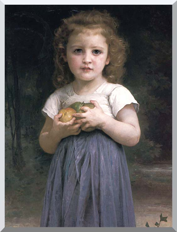 William Bouguereau Little Girl Holding Apples stretched canvas art print
