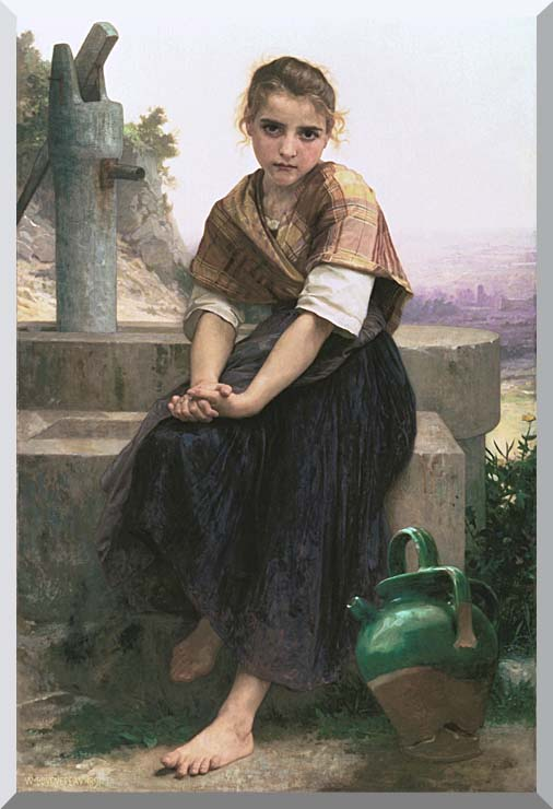 William Bouguereau The Broken Pitcher stretched canvas art print
