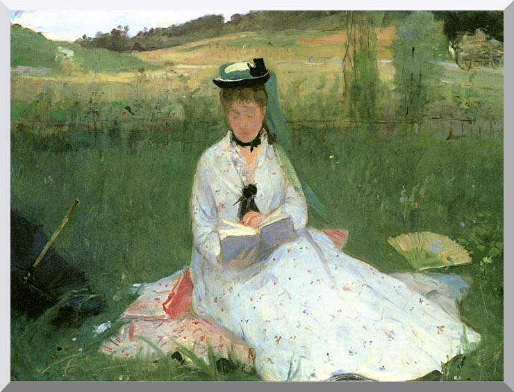 Berthe Morisot Reading (detail) stretched canvas art print