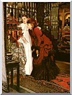 James Tissot Young Ladies Looking At Japanese Objects stretched canvas art