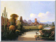 John Mix Stanley Chain Of Spires Along The Gila River stretched canvas art