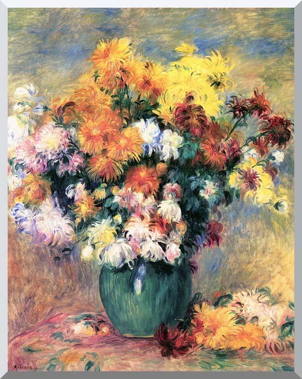 Pierre Auguste Renoir Chrysanthemums in a Vase stretched canvas art print
