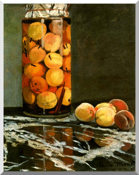 Claude Monet Jar of Peaches stretched canvas art print