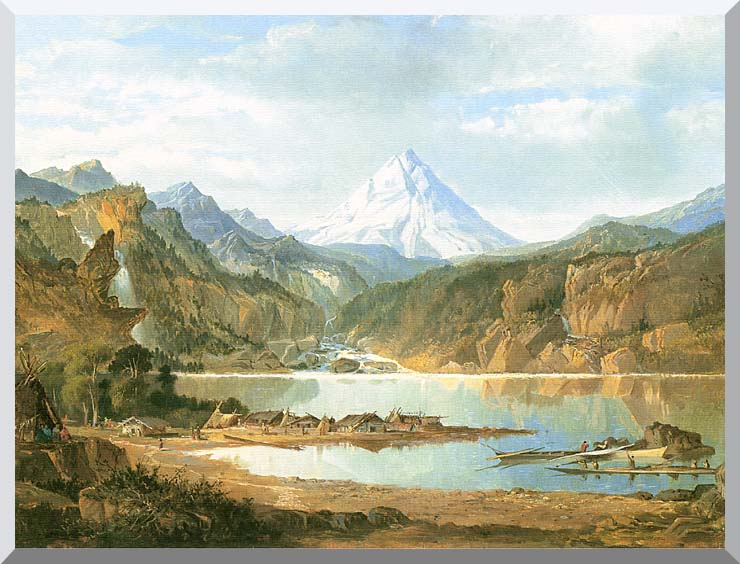 John Mix Stanley Mountain Landscape with Indians stretched canvas art print
