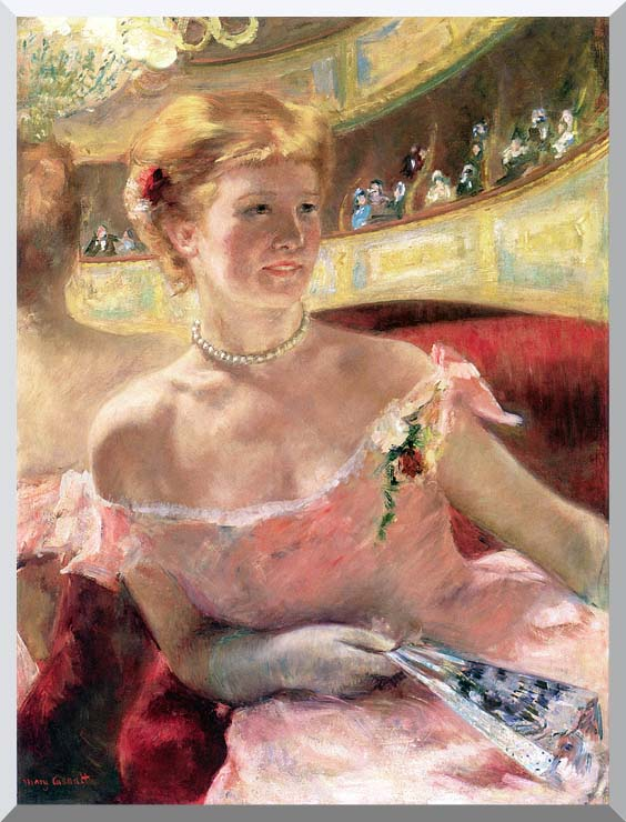 Mary Cassatt Lydia in a Loge Wearing a Pearl Necklace stretched canvas art print