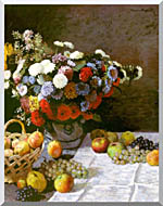 Claude Monet Still Life Flowers And Fruit stretched canvas art