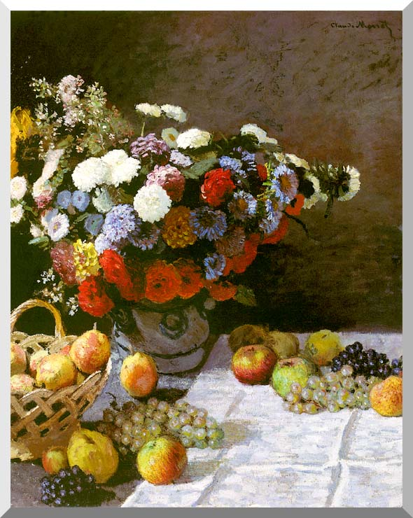 Claude Monet Still Life, Flowers and Fruit stretched canvas art print