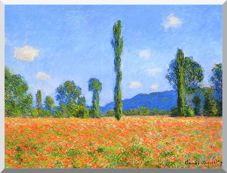 Claude Monet Poppy Field stretched canvas art print
