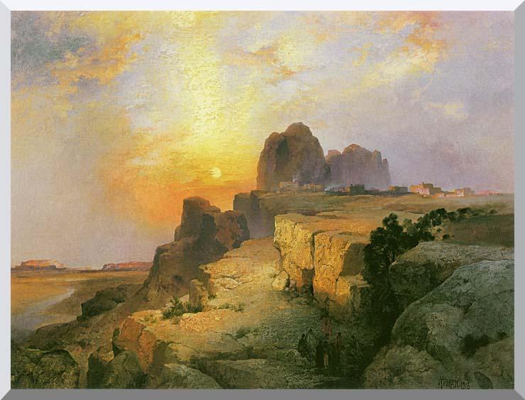 Thomas Moran Hopi Village, Arizona stretched canvas art print