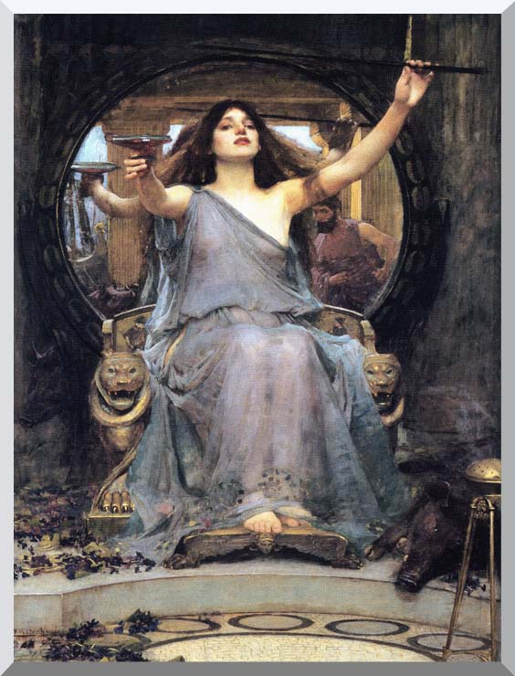 John William Waterhouse Circe Offering the Cup to Ulysses stretched canvas art print