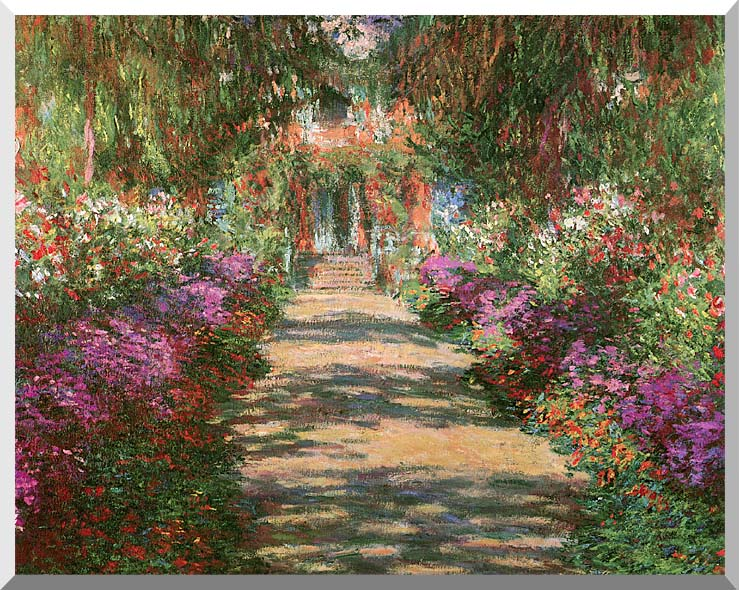 Claude Monet Main Path through the Garden at Giverny (detail) stretched canvas art print