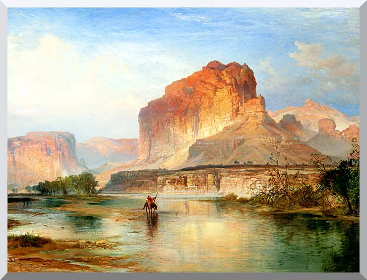 Thomas Moran Cliffs of Green River 1874 (detail) stretched canvas art print