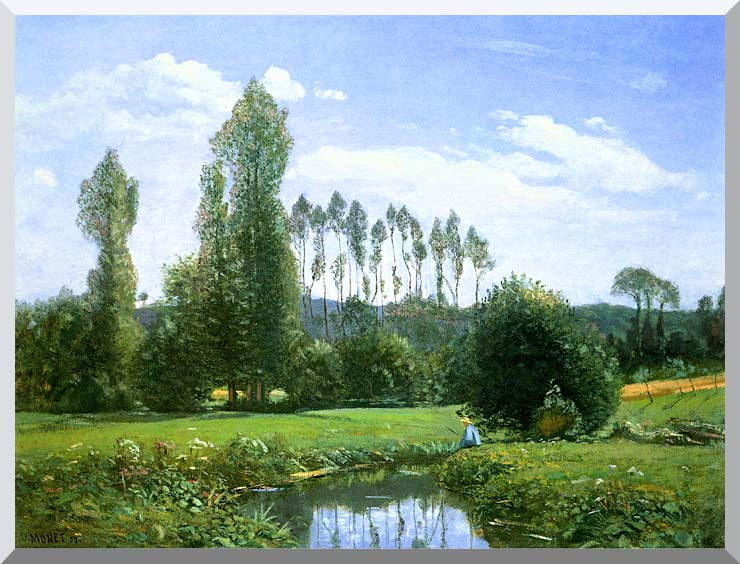 Claude Monet View from Rouelles (Monet's First Painting) stretched canvas art print
