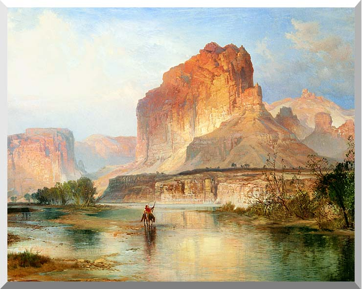 Thomas Moran Cliffs of Green River (detail) stretched canvas art print