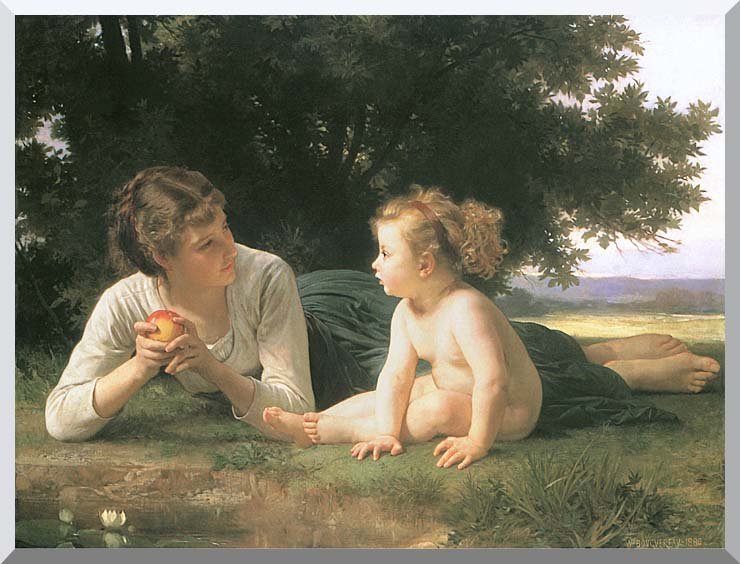 William Bouguereau Temptation stretched canvas art print