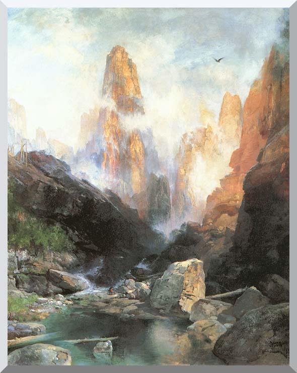 Thomas Moran Mist in Kanab Canyon, Utah stretched canvas art print