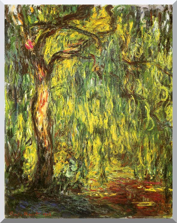 Claude Monet Landscape, Weeping Willow stretched canvas art print