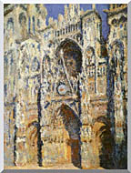 Claude Monet Rouen Cathedral The Portal And The Tour Sainte Romain Full Sunlight Harmony In Blue And Gold stretched canvas art