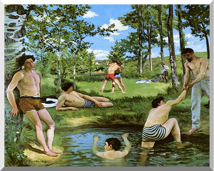 Frederic Bazille Summer Scene stretched canvas art print