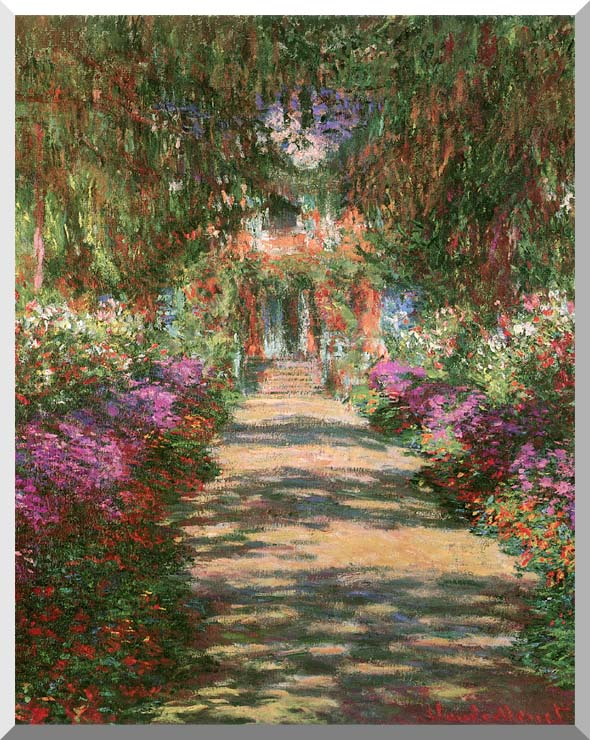 Claude Monet Main Path through the Garden at Giverny (portrait detail) stretched canvas art print