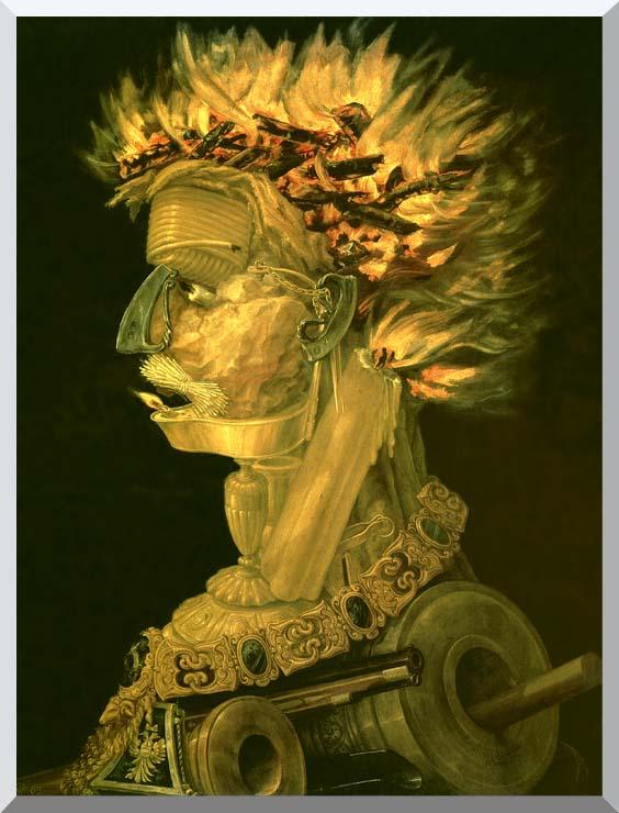 Giuseppe Arcimboldo Fire stretched canvas art print