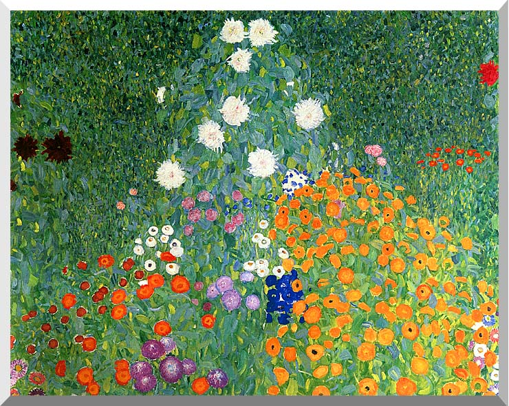 Gustav Klimt Farm Garden (detail) stretched canvas art print