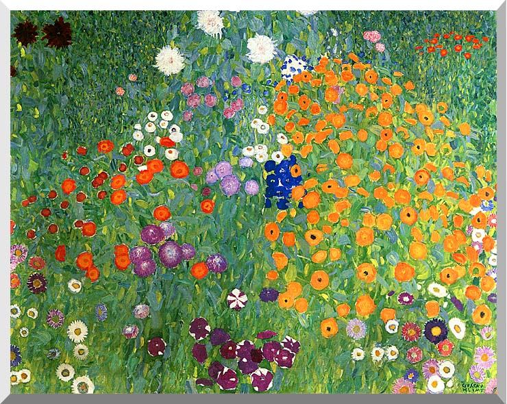 Gustav Klimt Farm Garden 1905-6 (detail) stretched canvas art print
