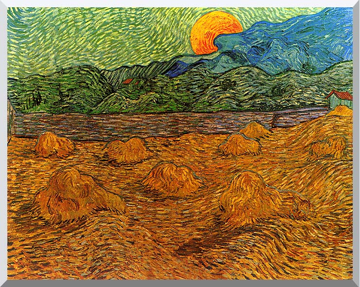 Vincent van Gogh Evening Landscape with Rising Moon stretched canvas art print