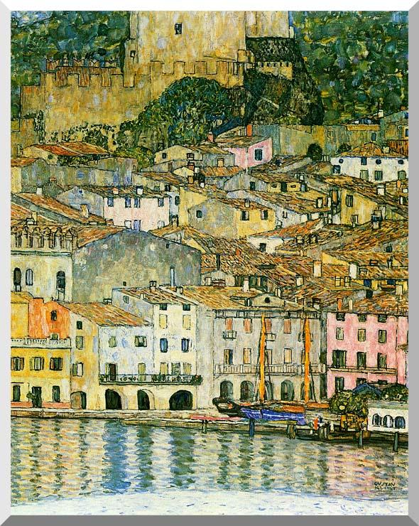 Gustav Klimt Malcesine on Lake Garda (detail) stretched canvas art print