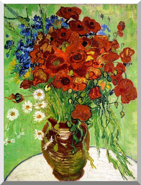 Vincent van Gogh Still Life: Red Poppies and Daisies stretched canvas art print