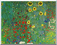 Gustav Klimt Farm Garden With Sunflowers Detail stretched canvas art